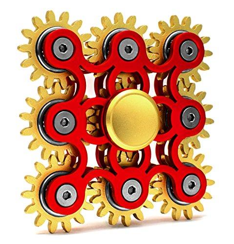 Edler Fidget Spinner 9 Zahnräder aus Metall lange Drehzeit bis 5 min + Metallbox Hand Toy Finger Spielzeug (rot)