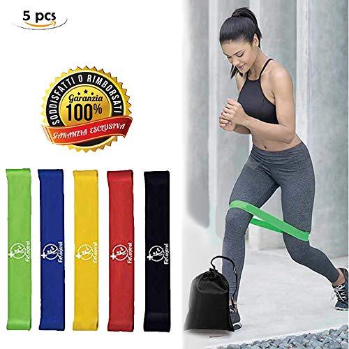 FitControl Bande Elastiche Set di 5 Bande Elastiche Loop - Resistenza Fitness Allenamento Gambe Glutei Yoga Pilates G.a.g. Fasce Elastiche Uomo Donna Fisioterapia Palestra 30x5 cm