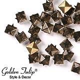 [Golden Tulip®] 100x 8mm Nieten Ziernieten Gotik Metall DIY Pyramiden Bronze 216003