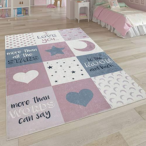 Paco Home Kinderteppich, Waschbarer Kinderzimmer Teppich m. Stern, Mond u. Karo Motiven, Grösse:160x230 cm, Farbe:Pink