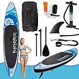 Kinetic Sports SUP Board Stand Up Paddling Surfboard 335cm aufblasbar inkl. Teleskop-Paddel, Rucksack, Sicherheitsleine und Repair-Kit Wave