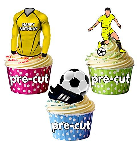 AK Giftshop vorgeschnittenen Happy Birthday Fußball Party Pack-Essbare Cupcake Topper/Kuchen Dekorationen Watford Farben (12Stück)