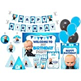 PrettyurParty Boss Baby Decorations Set, Standard, Blue and Black -Set of 90 Piece
