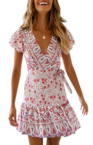 Ajpguot Vestido de Verano Mujer Impresión Mini Vestidos de Playa V-Cuello Manga Corta Vestido con Cinturón Sundress Elegante Corto Dress de Partido Fiesta (M, 183045 Rosa Claro)