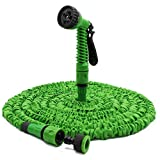 Hiluckey 100 Feet No Kink Expandable Flexible Expanding Garden Hose No Kinking Water Hose with Professional Spray Nozzle for Garden Watering, Car Washing and more- Green