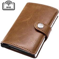 Dokpav RFID Carte de Crédit Titulaire de Automatique Pop-up en Aluminium Blocage Étui PU Cuir Entreprise Slim Mini Porte-Monnaie (Marron)