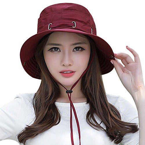ex Buschhut für Damen Herren Anglerhut UV Schutz Fischerhut Schnell Trocknend Safarihut Outdoor Sonnenmütze mit Kinnband Faltbarer Wanderhut Rot Hut für Camping Reise Wandern ()