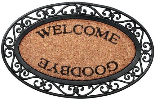 Felpudos de Goma Welcome/Goodbye Oval, RB13, goma y fibra de coco, 70x 45x 2,5-
