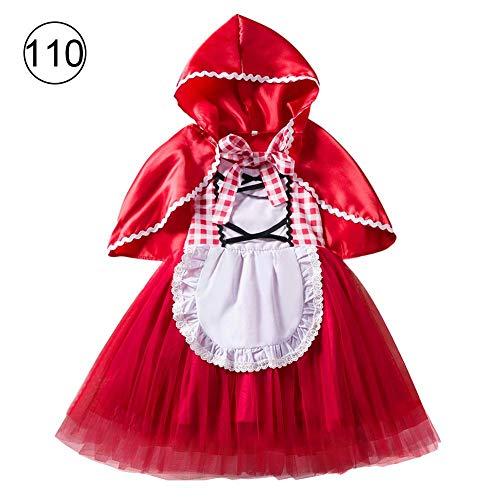 Diuspeed Bambini Natale Halloween Costume Cappuccetto Rosso Costume Principessa Abito Natale Performance Costume Ragazza Festa Abito Make Up Costume da palcoscenico, a, 110