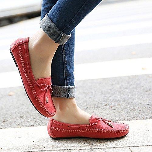 Minetom Donne Piselli Scarpe Scarpe Casual Piatte Con Bowknot Primavera Estate Autunno Scarpe Rosso