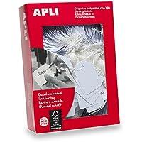 APLI 396 - Pack de 400 etiquetas colgantes, 50 x 70 mm, color blanco