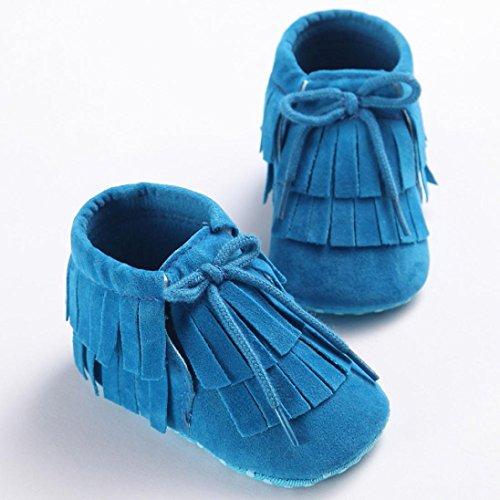 kingko Toddler enfant bébé Filles Garçons Tassel Semelles souples Prewalker Chaussures bleu1
