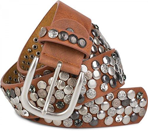 styleBREAKER Nietengürtel im Vintage Design mit echtem Leder, verschiedenen Nieten und Strass, kürzbar, Damen 03010051, Farbe:Rehbraun;Größe:95cm (Klassische Nieten-leder)