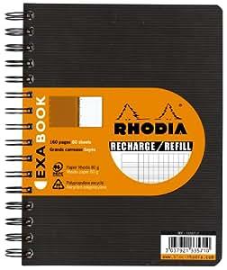 Rhodia Exabook 133571C Cahier Recharge Spirale A5+ 160 Pages Séyès avec Cadre en-Tête