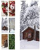 Hochwertiger Textilbanner Weihnachten/Winter - Große Auswahl - 180cmx75cm - Beidseitig Bedruckt - Schaufenster Deko - Wanddeko/Textilbild/Fotoprint - Fensterdekoration & Wandbehang (Winterhütte)