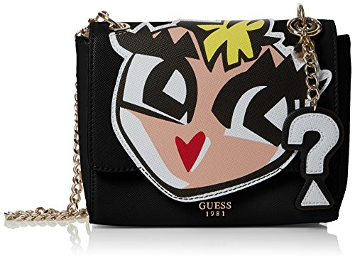 Guess Pin Up Pop, Borsa a Tracolla Donna, 9x17x21 cm (W x H x L) Nero