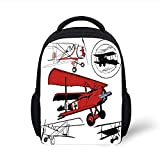 Kids School Backpack Vintage Airplane Decor,Collection of Various Biplanes Nostalgic Antique Silhouettes,Red White Black Plain Bookbag Travel Daypack