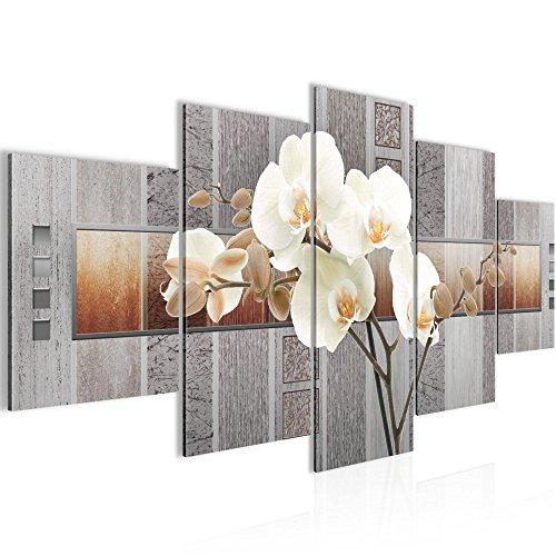 Bild 200 x 100 cm - blumen Bilder- Vlies Leinwand - Deko für Wohnzimmer -Wandbild - XXL 5 Teilig Teile - leichtes Aufhängen- 800751a