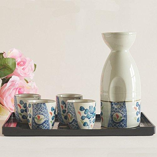 Kaze 5Piezas Sake Set, Sake Tazas con Jarra, Estilo japonés, Flores Azules