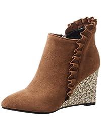 Femmes Sandales Peep-Toe Poisson Bouche Chaussures Bureau Carrière Robe Comfort Casual Wedge Bottes Cool High Heels Gladiateur Sandales EU 36 Blanc eet1TzqO