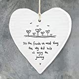 East of India Porcelain Hanging Heart ' It's the friends we meet.' Gift