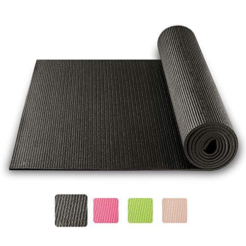 BODYMATE Yogamatte Universal Schwarz - Größe 183x61cm - Dicke 5mm - Schadstoffgeprüft frei von Phthalaten, BPA, Schwermetallen - Trainings-Matte für Fitness, Yoga, Pilates, Functional