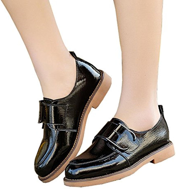 Zapatos redondos de la primavera de los 3cm, zapatos del talón del cuero de la hebilla del cinturón, zapatos casuales...