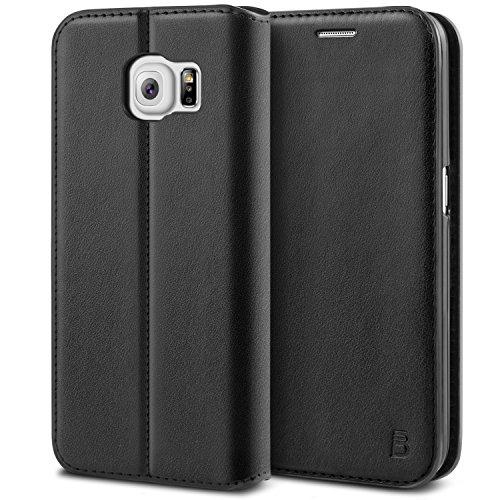 BEZ Hülle für S6 Edge Hülle, Premium Handyhülle Kompatibel für Samsung Galaxy S6 Edge, Tasche Case Schutzhüllen aus Klappetui mit Kreditkartenhaltern, Ständer, Magnetverschluss - Schwarz