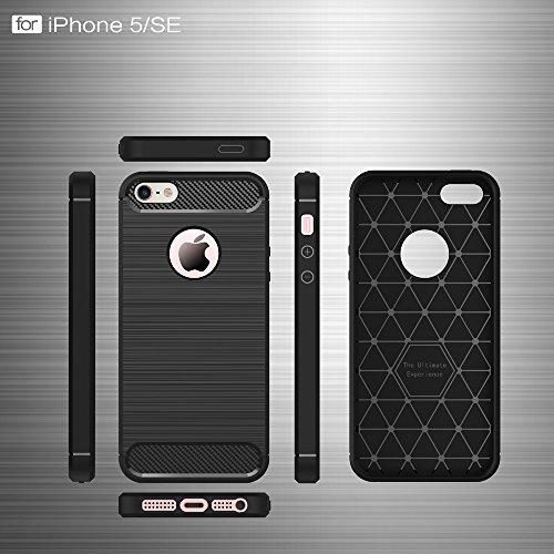 DBIT Apple iPhone 5/5S/SE Custodia ,Coperchio di Protezione Compatto in Fibra di Carbonio con Cassa Antiurto in Silicone Ultra Morbido e Leggero TPU Case Cover per Apple iPhone 5/5S/SE Smartphone,Nero Rosso