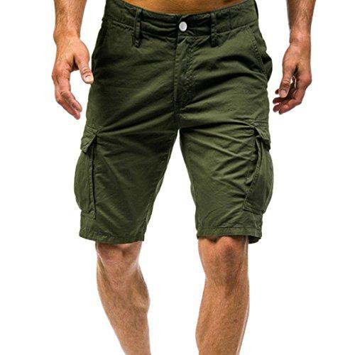 Herren Männer Hosen Sommer Sport Stretch Slim Fit Cargo Chino Shorts Sports Work Casual Armee Kampf Cargo Shorts Hosen Hosen (Grün, XXL) -