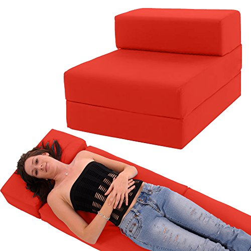STANDARD CHAIRBED – Single Guest Z Chair bed Z Bed Chairbed Futon (Red)