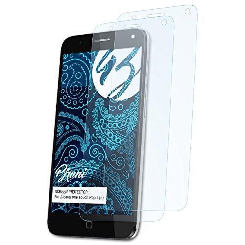 Bruni Schutzfolie für Alcatel One Touch Pop 4 (5) Folie, glasklare Bildschirmschutzfolie (2X)