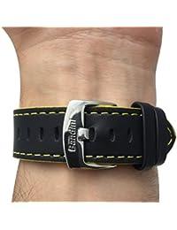 Reloj de pulsera banda de cuero, Racer, 24mm, color negro con costuras de color amarillo