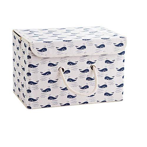 pielzeugkiste Faltbar Aufbewahrungsbox mit Deckel Kinder Spielzeug Organizer Aufbewahrungskorb Korb für Kleidung Faltbox Vorratsbehälter aus Baumwollgewebe (Wal) ()
