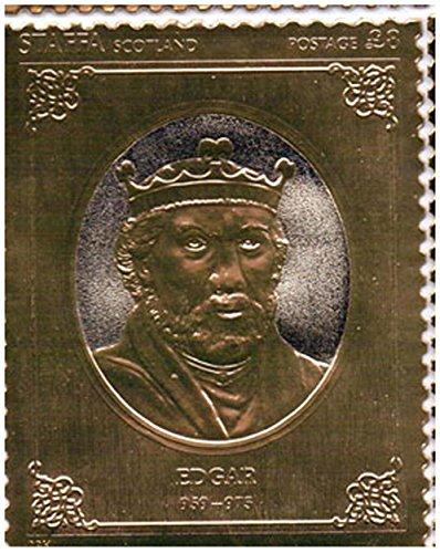 Gold-Briefmarken - Staffa 1977 Königin Silver Jubilee König Edgar 23k Goldfolie Briefmarke - Hohe Qualität - nie montiert - Postfrisch (Set Sammlung Blatt König)