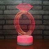 3D Lampara Led Luz Ilusión óptica Botón táctil color o 7 colores cambiar gradualmente Decoración del dormitorio del bebé regalo del día de San Valentín sueño asistido Anello di diamanti