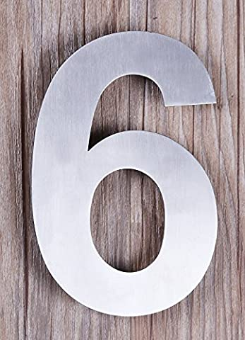 QT Modern House Number - SMALL 10.2 Centimeter - Brushed Stainless Steel (Number 6 Six), Floating Appearance, Easy to install and made of solid 304