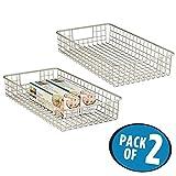 mDesign 2er-Set Drahtkorb aus Metall – schmaler Allzweckkorb zur Aufbewahrung auf der Arbeitsplatte, in der Küche, Speisekammer etc. – auch als Schrankkorb geeignet – mattsilber