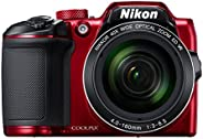 Nikon Coolpix B500 16MP Point and Shoot Camera with 40xOptical Zoom (Red) with HDMI cable + 16 GB SD card + Ca