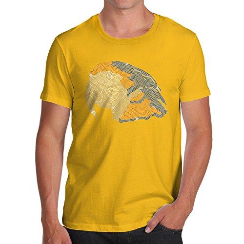 TWISTED ENVY Herren T-Shirt Parrot Head Rhinestone Diamante Stass X-Large Gelb (Cockatoo Parrot T-shirt Tee)