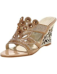 AIYOUMEI Damen Glitzer Pantoletten Peeptoe Mules Blockabsatz Sandalen mit Pailletten Schuhe Sommer Pantoffeln