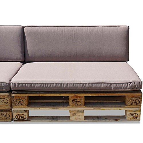 Nordje Palettenkissen Set Comfort Grey bestehend aus Sitzkissen (120 x 80 cm) und Lehne (120 x 40 cm) für Ihre Outdoor Palettenlounge (Taupe) aus wasserabweisenden hochwertigem Stoff