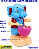 #3: TOY-STATION Happy Drummer With Toy Light, Music and 360 degree Rotation Toys (CLEVER ELEPHANT DRUMMER)