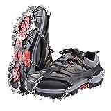 TRIWONDER Hielo Nieve Grips Más de Zapatos/Botas Tacos de Tracción de Goma Picos Slip-On Elástico Calzado Picos de Tracción Antideslizante crampones (Negro, L (W 8.5-11.5/M 7-10))