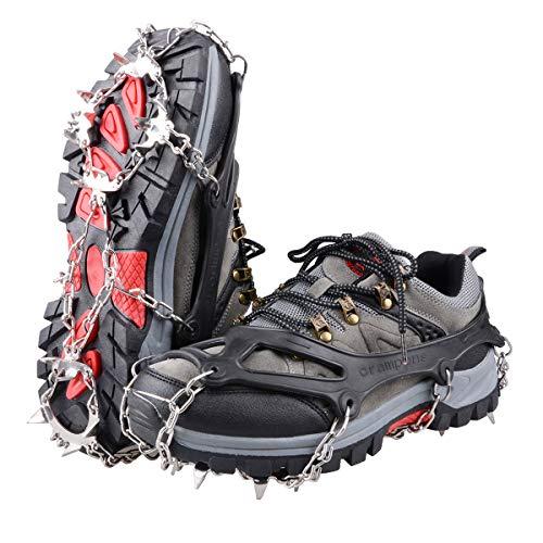 TRIWONDER Ice Snow Griff über Schuh/Stiefel Traktion Keil Gummi Spikes Gleitschutz Schuhe Traktion Rutschfeste Spikes Steigeisen, schwarz … (Schwarz, M (W 5,5-8,5 / M 5-7))