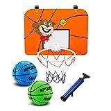 Intérieur Mini Panier de Basket-Ball avec Panneau 40,6x 30,5cm résistant aux Chocs-Inclut 2Mini Ballons de Basket et Pompe à Main, Orange