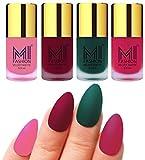#9: Matte Nail Polish Shades by MI Fashion® Baby Pink Matte Nail Polish Mauve Matte Nail Polish Dark Green Matte Nail Polish Pink Matte Nail Polish Combo of 4 Pcs 9.9ml