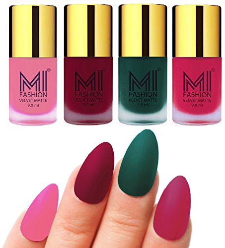 Matte Nail Polish Shades by MI Fashion®|Baby Pink Matte Nail Polish|Mauve Matte Nail Polish|Dark Green Matte Nail Polish|Pink Matte Nail Polish Combo of 4 Pcs|9.9ml