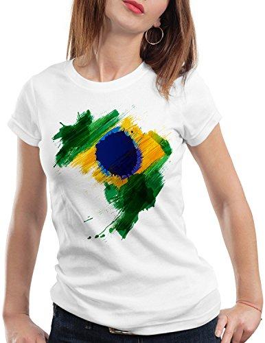 CottonCloud Flagge Brasilien Damen T-Shirt Fußball Sport Brazil WM EM Fahne, Farbe:Weiß, Größe:L