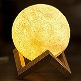 3D Moon lampada, LED Lunar Night luce touch control tavolo lampada luminosità dimmerabile con USB ricarica Moonlight regalo con supporto in legno (5inch/13cm)
